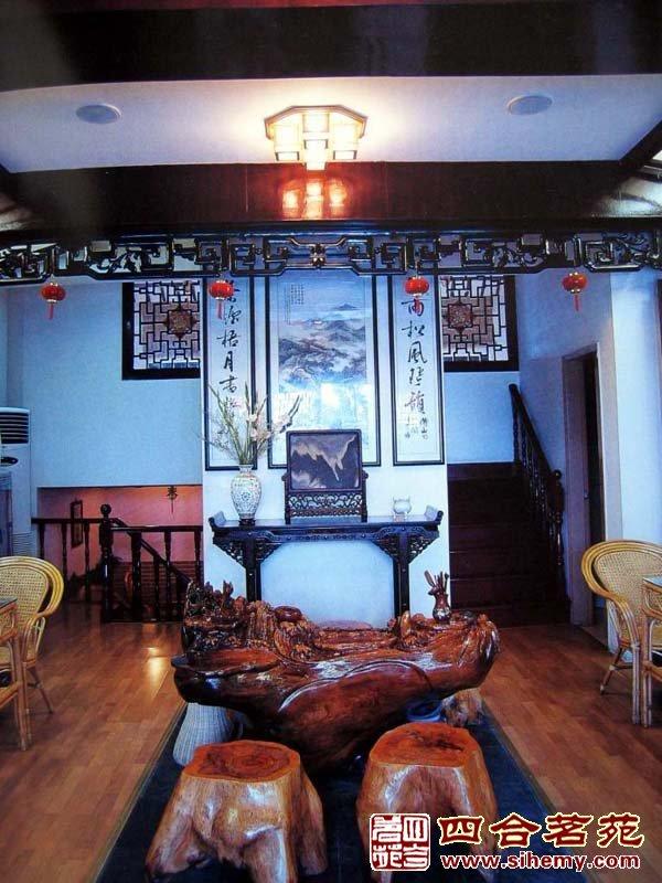 仿古茶楼装修效果图 仿古式茶楼装修效果图 仿古茶楼门头效果图