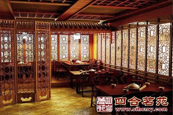 茶馆中式装修风格-茶楼大厅中央区效果