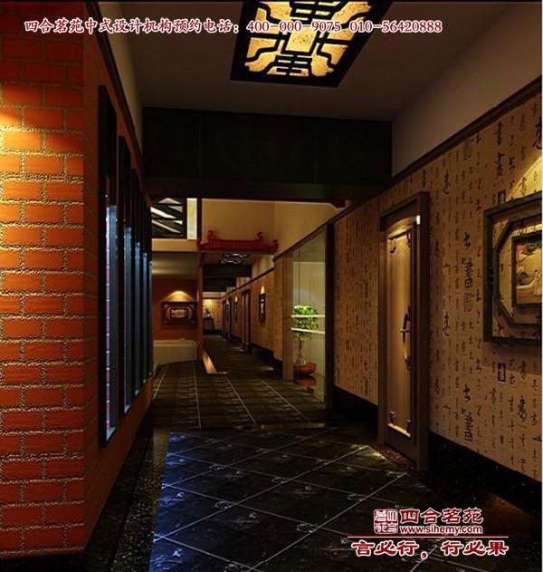 现代中式风格茶楼走廊设计效果图 图文高清图片