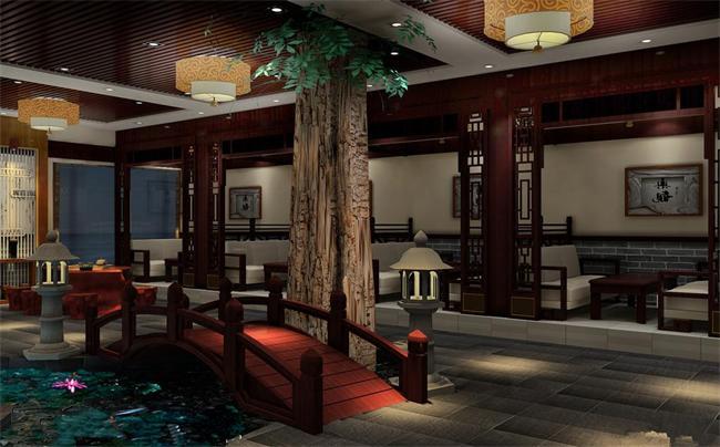 将景观元素融入中式风格的茶楼大厅设计中----[四合