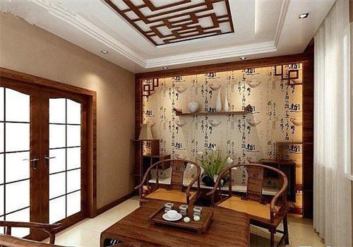 现代中式风格茶楼装修中的茶楼背景墙设计 图文